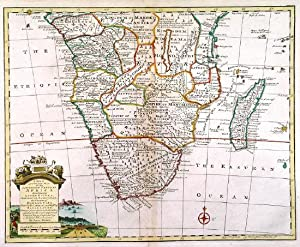A NEW & ACCURATE MAP OF THE SOUTHERN PARTS OF AFRICA. . Map of southern Africa with pictorial ca...