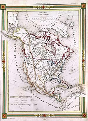 CARTE DE L AMERIQUE SEPTENTRIONALE . Map of North America. Texas is shown as Independent Republic.