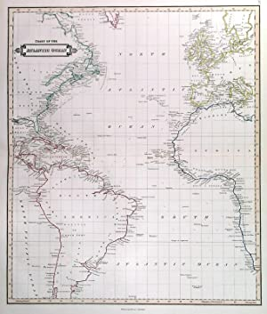 CHART OF THE ATLANTIC OCEAN . Map of the Atlantic Ocean with coastlines of South America, easter...
