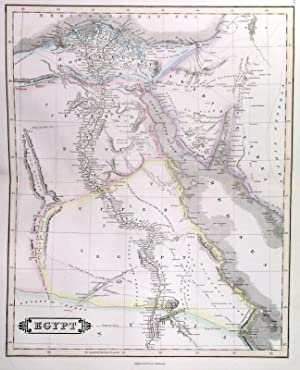 EGYPT . Detailed doublepage map of Lower, Central and Upper Egypt.