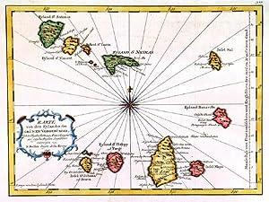 KARTE VON DEN EYLANDEN DES GRÜNEN VORGEBÜRGES . Map of the Cape ...