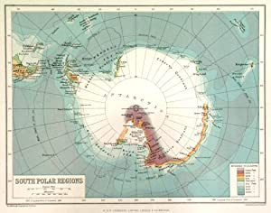 SOUTH POLAR REGIONS . Map of the South Pole with points indicated which were reached by explorer...