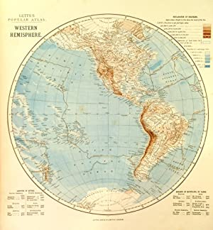 WESTERN HEMISPHERE  &  EASTERN HEMISPHERE . Two maps from Lett s Popular Atlas.