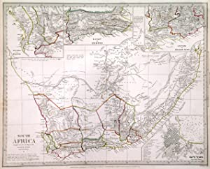 'SOUTH AFRICA'. Map of South Africa with inset maps of Capetown, the environs of Capetown, Distri...