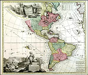 AMERICAE TAM SEPTENTRIONALIS QUAM MERIDIONALIS IN MAPPA GEOGRAPHICA DELINEATIO . Map of North and...