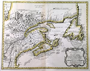 PARTIE ORIENTALE DE LA NOUVELLE FRANCE OU DU CANADA . Map of East Canada, New Brunswick, Nova Sc...