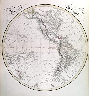 WESTERN HEMISPHERE  and  EASTERN HEMISPHERE . Double hemisphere world map, printed on two sheets...