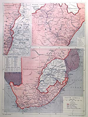 SOUTH AFRICA . Map of Cape Colony, South African Republic (Transvaal) and Rhodesia, with two lar...