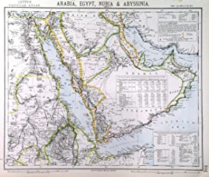 ARABIA, EGYPT, NUBIA & ABYSSINIA . Detailed map of Arabia, incl. Egypt and the Soudan. Inset tab...