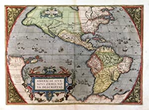 AMERICAE SIVE NOVI ORBIS, NOVA DESCRIPTIO . Map of the Western Hemisphere with North and South A...