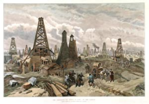 THE PETROLEUM OIL WELLS AT BAKU, ON THE CASPIAN . Very striking image of one of the first oilfie...