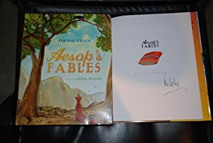 Aesop's Fables DOUBLE SIGNED by Fiona Waters and Fulvio Testa UK HB