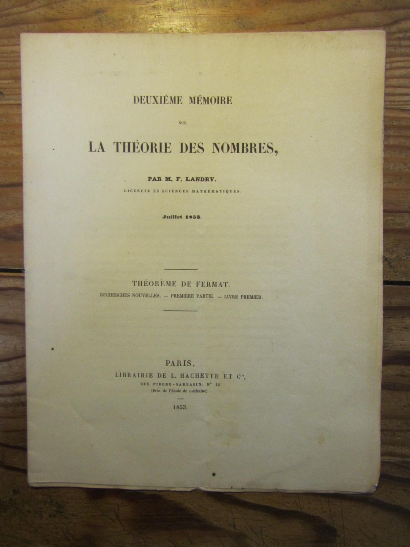 Deuxième_3ème_et_4ème_Mémoire_sur_la_Théorie_des_Nombres_Landry__Fortuné__Assez_bon_Couverture_souple