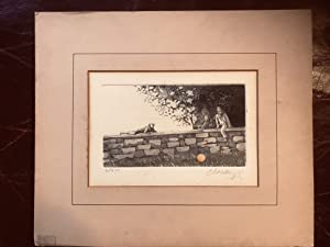 Paul Cloutier Copper Etching Three Boys On A Wall With Ball Pencil Signed and Numbered 6/200