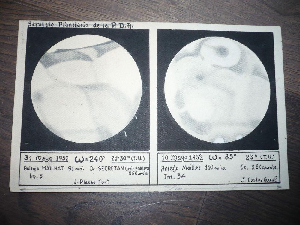 ASTRONOMIE DESSIN PLANETE 1952 SERVICE PLANETARIO DE LA PDA ASTRONOMIE DESSIN PLANETE 1952 SERVICE PLANETARIO DE LA PDA
