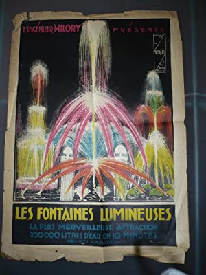 AFFICHE ANCIENNE MILORY FONTAINES LUMINEUSES 1920