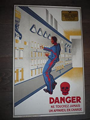 AFFICHE LITHOGRAPHIEE VERGER DELPORTE DANGERS DE L'ELECTRICITE ORIGINALE