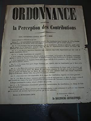 AFFICHE 1870 REIMS PERCEPTION DES CONTRIBUTIONS