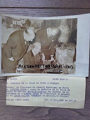 PHOTO DE PRESSE 1955 PARIS MAURICE UTRILLO