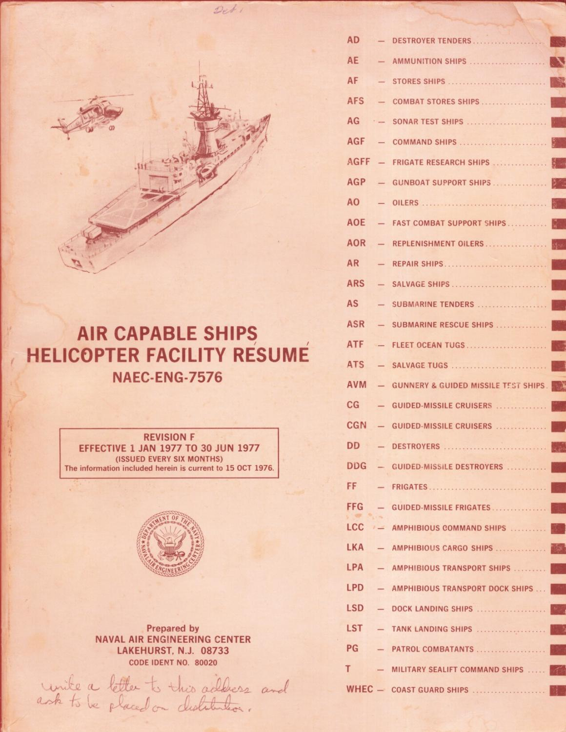 Air Capable Ships Helicopter Facility Resume Naval Air Engineering