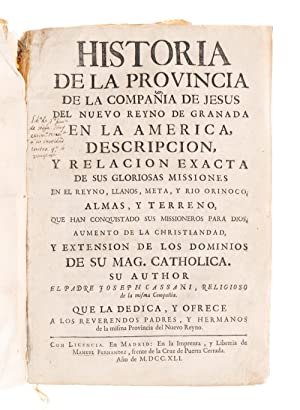 Historia de la provincia de la compañía: Cassani, Joseph