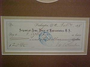 General Joe Wheeler Signed Check: General Joe Wheeler