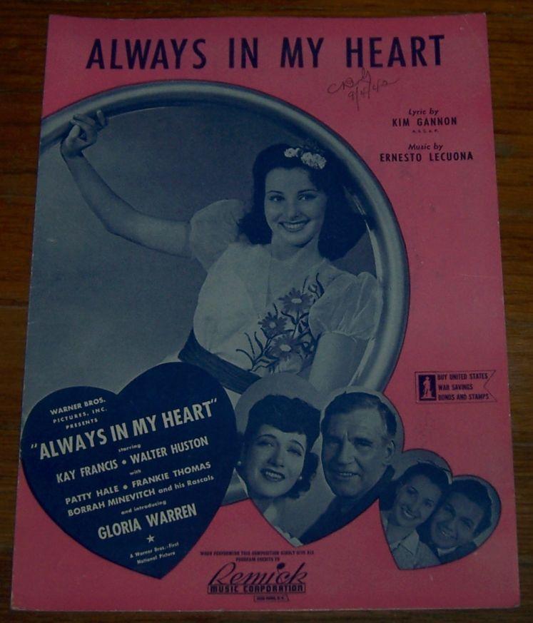 ALWAYS IN MY HEART, Sheet Music