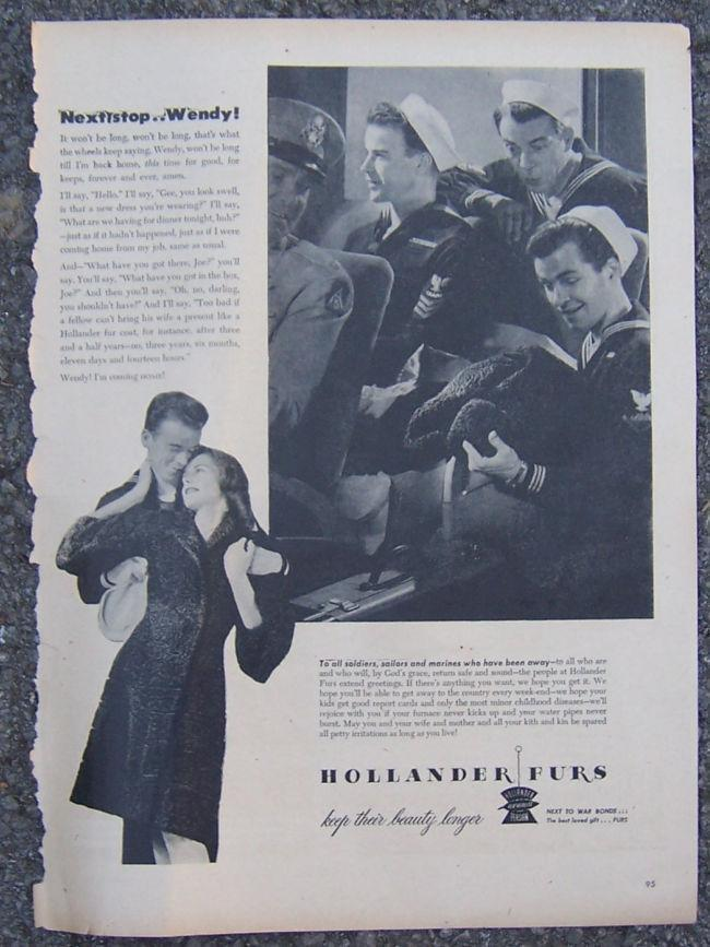 Image for 1945 HOLLANDER FURS LIFE MAGAZINE ADVERTISEMENT