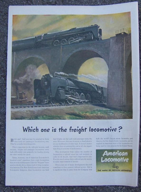1945 AMERICAN LOCOMOTIVE LIFE MAGAZINE ADVERTISEMENT, Advertisement