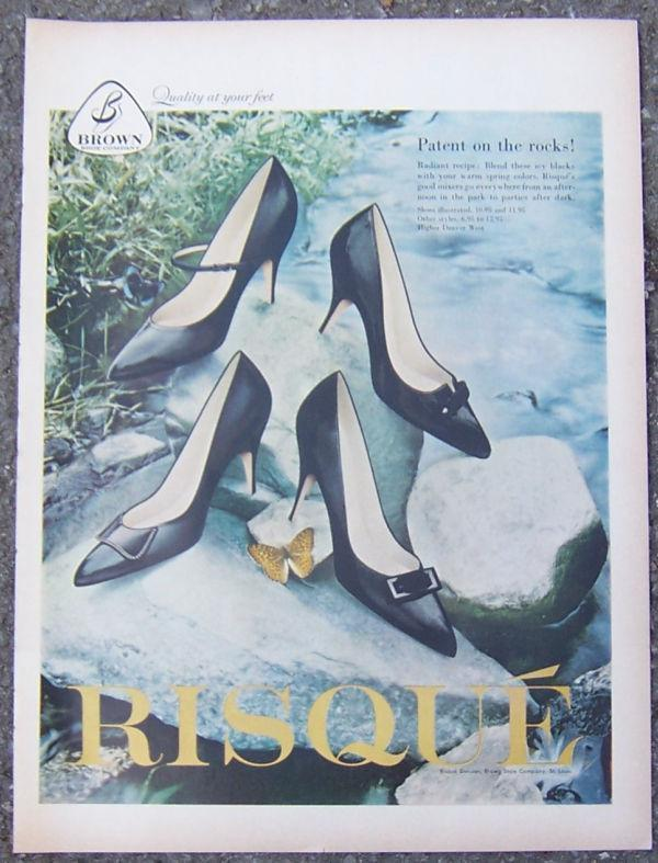 Image for 1959 RISQUE BLACK PATENT LEATHER SHOE LIFE MAGAZINE ADVERTISEMENT
