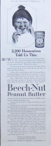 Image for 1917 LADIES HOME JOURNAL BEECH-NUT PEANUT BUTTER MAGAZINE ADVERTISEMENT