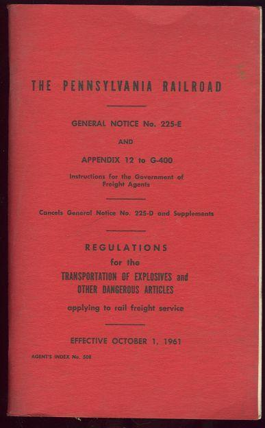 PENNSYLVANIA RAILROAD General Notice No. 225-E and Appendix 12 to G-400, Allen, W. C. Issued by