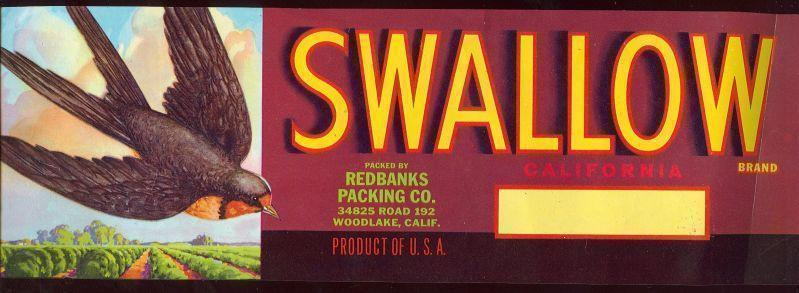 FRUIT CRATE LABEL FOR SWALLOW, CALIFORNIA, Advertisement