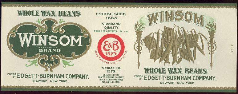 Image for WINSOM BRAND WHOLE WAX BEANS CAN LABEL