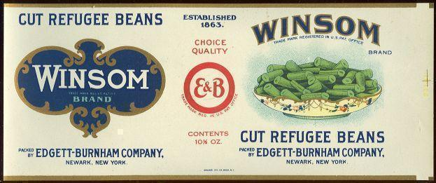 Image for WINSOM BRAND CUT REFUGEE BEANS CAN LABEL