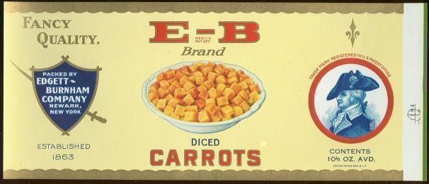 E-B BRAND DICED CARROTS CAN LABEL, Advertisement