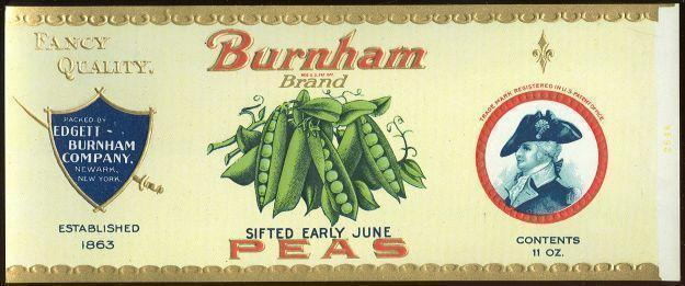 BURNHAM BRAND SIFTED EARLY JUNE PEAS CAN LABEL, Advertisement