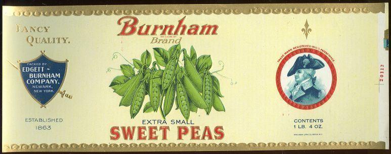 BURNHAM BRAND EXTRA SMALL SWEET PEAS CAN LABEL, Advertisement