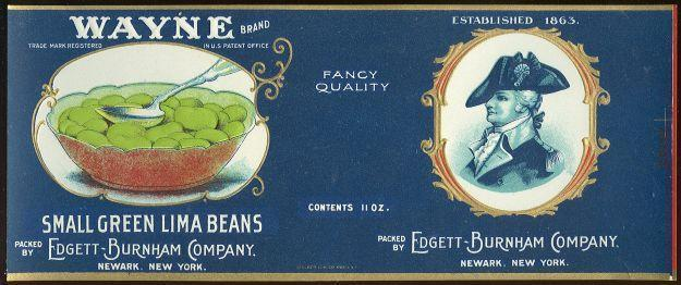 Image for WAYNE BRAND SMALL GREEN LIMA BEANS CAN LABEL