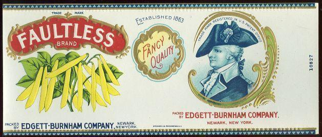 FAULTLESS BRAND WAX BEANS CAN LABEL, Advertisement