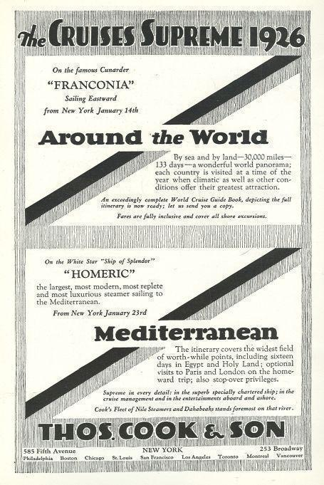 1925 NATIONAL GEOGRAPHIC SOUTHERN THOMAS COOK 1926 CRUISES SUPREME MAGAZINE ADVERTISEMENT, Advertisement