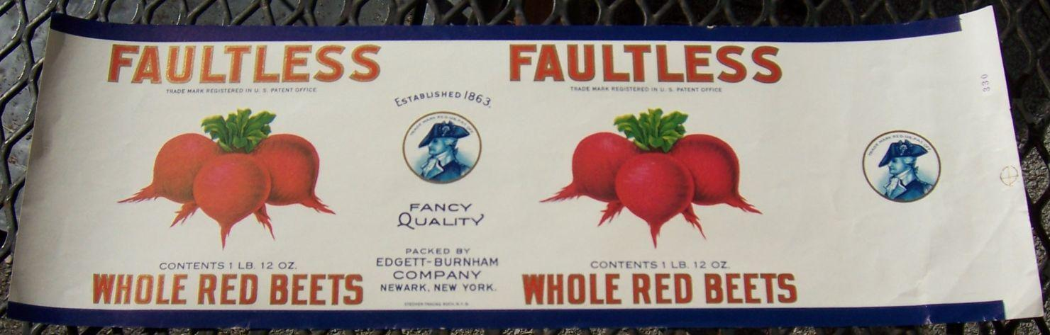 FAULTLESS BRAND WHOLE RED BEETS CAN LABEL, Advertisement