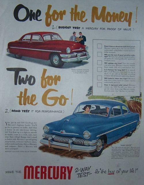 1951 SATURDAY EVENING POST MERCURY MAGAZINE ADVERTISEMENT, Advertisement