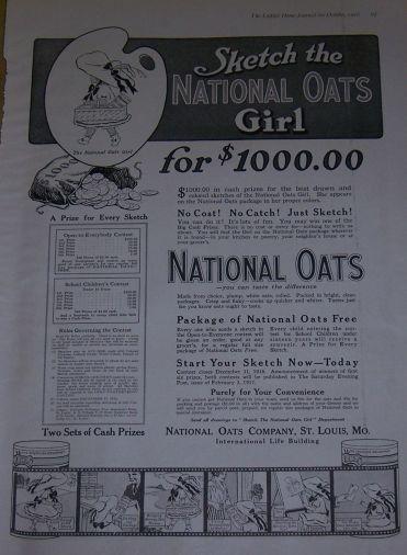 1916 LADIES HOME JOURNAL NATIONAL OATS MAGAZINE ADVERTISEMENT, Advertisement