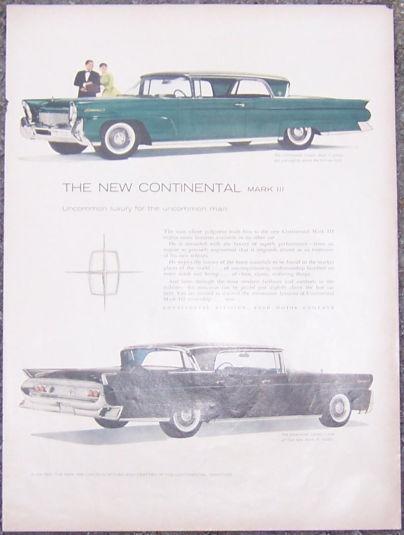 1957 NEW CONTINENTAL MARK III MAGAZINE ADVERTISEMENT, Advertisement