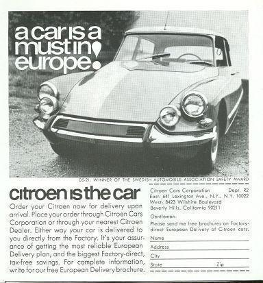 Image for 1967 REALITES MAGAZINE ADVERTISEMENT FOR CITROEN AUTOMOBILE