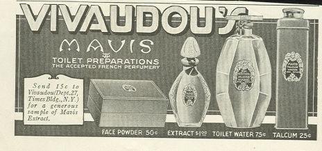 1917 LADIES HOME JOURNAL ADVERTISEMENT FOR VIVAUDOU'S MAVIS TOLIET PREPARATIONS, Advertisement