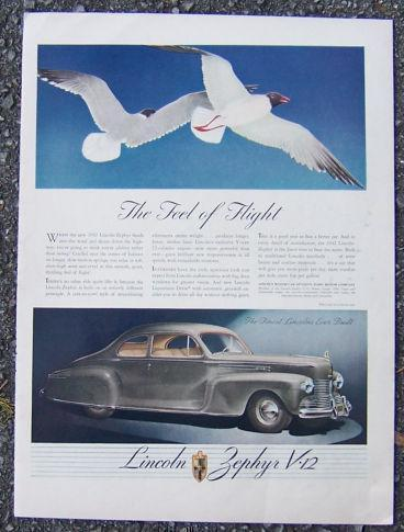 1942 LINCOLN ZEPHYR V-12 LIFE MAGAZINE ADVERTISEMENT, Advertisement