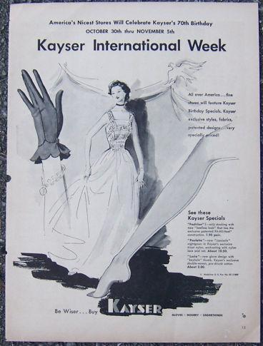 Image for 1940S KAYSER GLOVES AND HOSIERY MAGAZINE ADVERTISMENT