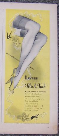 Image for 1941 KAYSER MIR-O-KAL HOSIERY MAGAZINE ADVERTISMENT